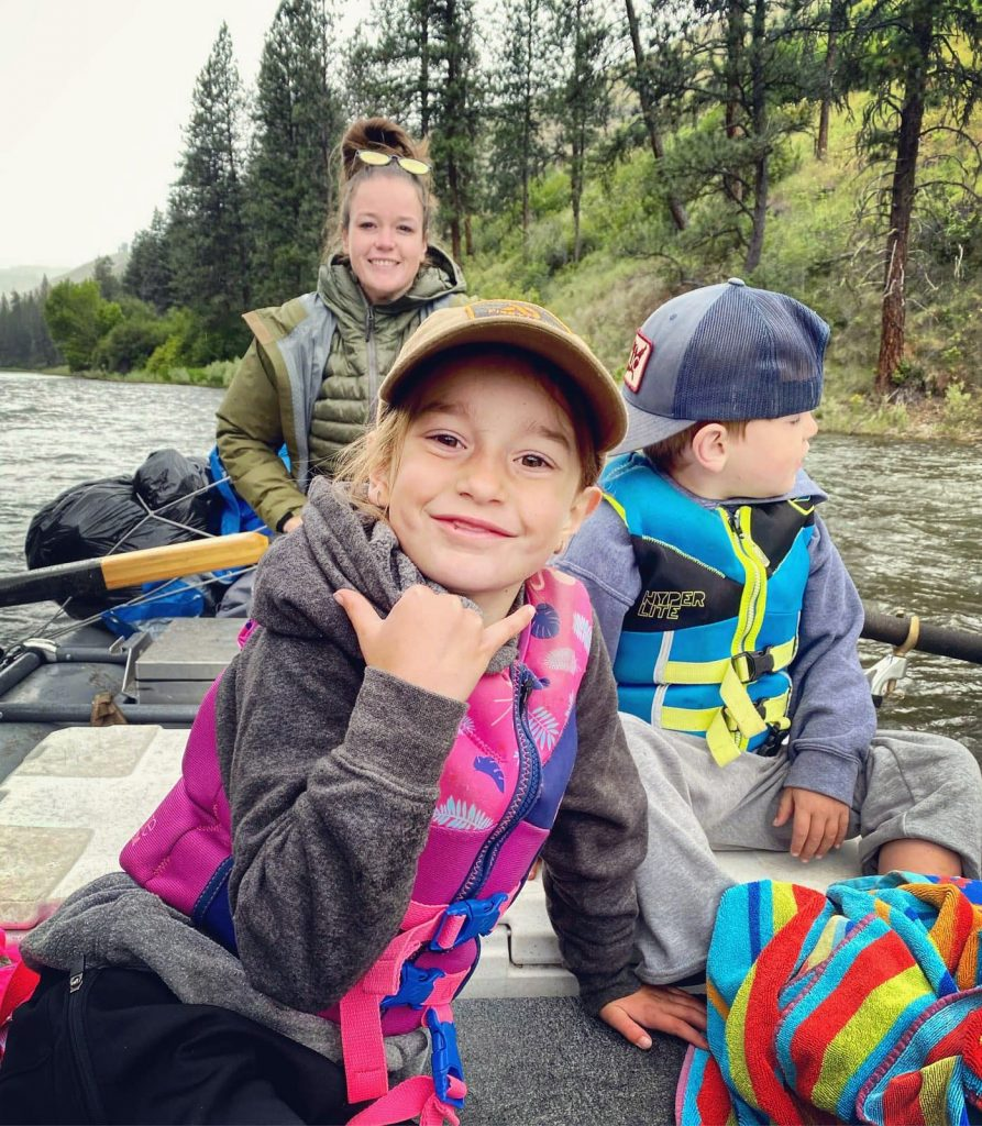 Family fun on the river.